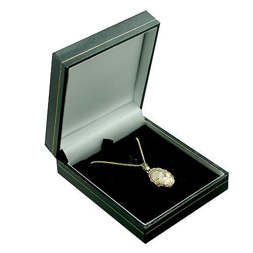 9ct 3 colour Gold 20x13mm oval diamond cut twisted wire edge Locket with a curb Chain 16 inches Only Suitable for Children