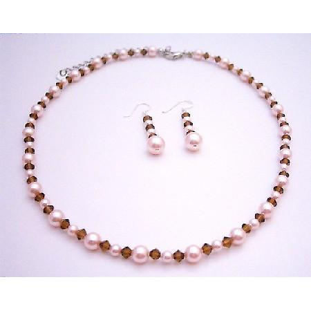Handcrafted Swarovski Rose Pink Pearls Smoked Topaz Crystals Necklace