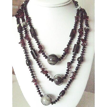 Long Necklace 30 Inch Semi Precious Necklace Onyx Gem Stones Necklace