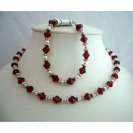 Fine Artisan Jewelry Swarovski Siam Red Crystals Necklace & Bracelet