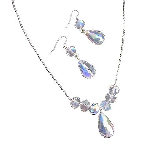 AB Crystals Pear Shaped Teardrop Wedding Gift Jewelry Set