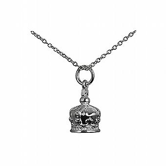 Silver 12x10mm Royal Crown Pendant with a rolo Chain 14 inches Only Suitable for Children