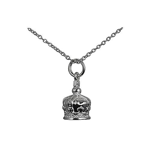 Silver 12x10mm Royal Crown Pendant with a Rolo Chain 18 inches
