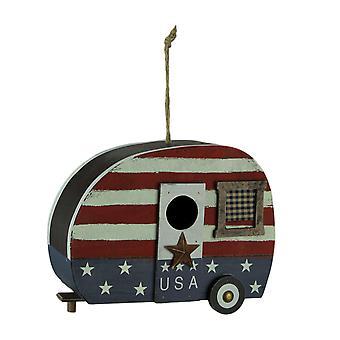 Rotes Weiß und blaues Holz USA Retro Camper Birdhouse