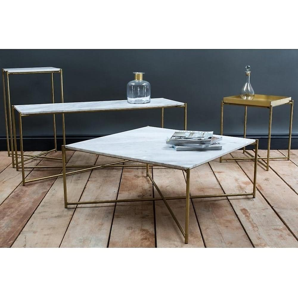 Gillmore Space White Marble Large Console Table With Brass Cross Base