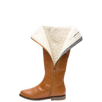 Ladies Womens Thermal Lined Leather Zip Boot