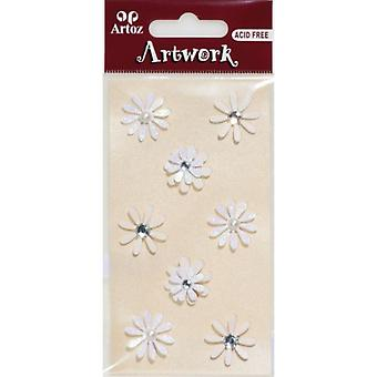 White And Cream Flowers Craft Embellishment By Artoz