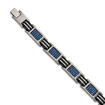 Titan mit blauen Kohlefaser und Kautschukarmband - 8,5 Zoll poliert