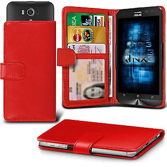 ONX3 Asus Zenfone 2 Laser ZE550KL Leather Universal Spring Clamp Wallet Case With Card Slot Holder and Banknotes Pocket-Red