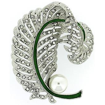Broscher butik stora antika Silver Pearl och Crystal Curling Leaf Corsage Bro