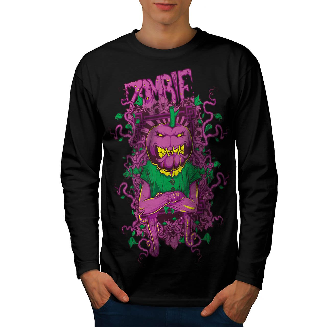 Zombie Pumpkin Ghost Head Mask Men Black Long Sleeve T-shirt | Wellcoda