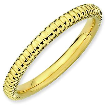Sterling Silver Stackable Expressions Gold-plated Rice Ring - Ring Size: 5 to 10