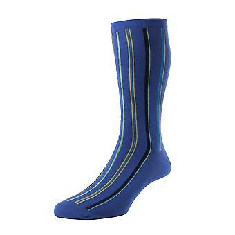 Salcombe men's marine striped socks by Pantherella. Made in England from sea island cotton