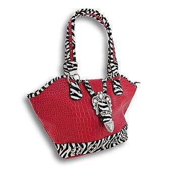 Glossy Fuchsia Mock Croc Bucket Bag Zebra Trim, Rhinestone Buckle