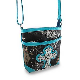 Wald-Camouflage Cross Body Bag w/Vinyl Trim und Strass Kreuz