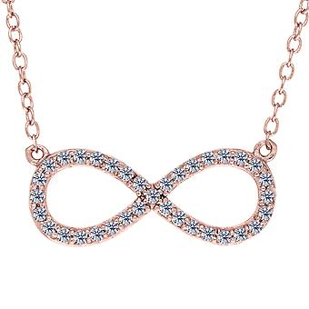 Infinity Sign Link And CZ Necklace In Rose Color Finish Sterling Silver, 18