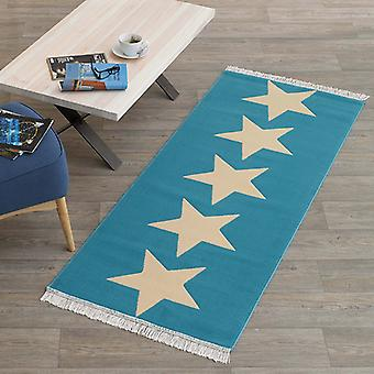 Designer velour runner star 80 x 200 cm Blue cream | 102346