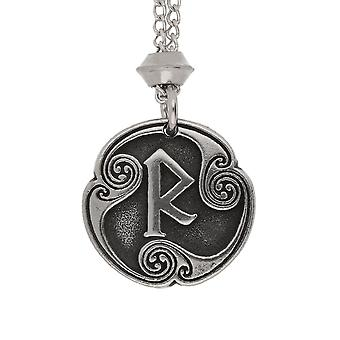 Handmade Norse Viking Raidho Rune of Psychic Communication 5th Runic Letter Pewter Chain Pendant ~ 20 inch Chain