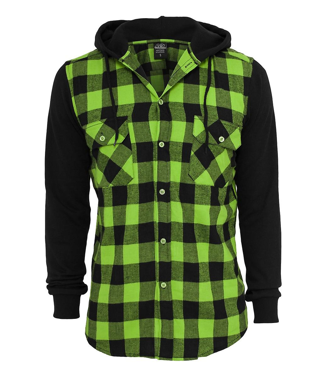 Urban Classics Hooded Flannel Checked Sweat Sleeve Shirt