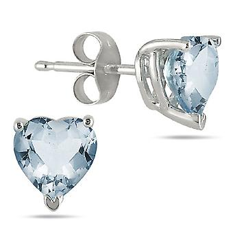 All-Natural Heart-Shaped Aquamarine Earrings, 14K White Gold (6mm)