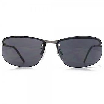 Glare Eyewear Travis Rimless Wrap Sunglasses In Gunmetal