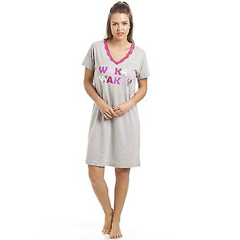 Camille Grey Short Sleeve Wakey Wakey Motif Cotton Nightdress