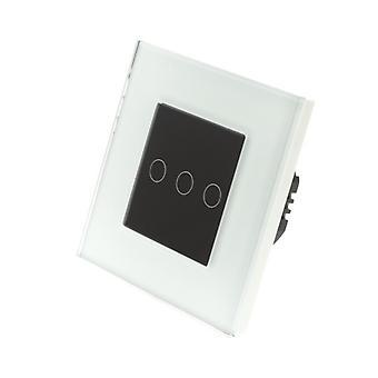 Я LumoS белое стекло рамка 3 банды 2 способ касания свет переключатель черные вставки
