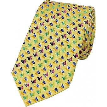 David Van Hagen Striped Butterfly Silk Tie - Gold