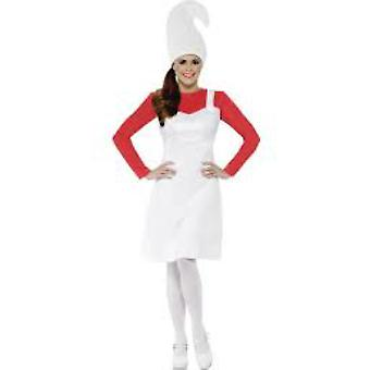 Women costumes  Smurfette dress red with white dress and hat