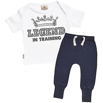Spoilt Rotten Legend In Training Baby T-Shirt & Navy Joggers Outfit Set