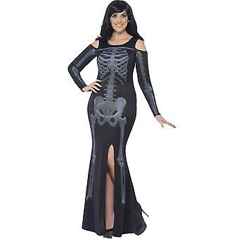 Kostüme Frauen lange Halloween Kleid mit Skelett-print