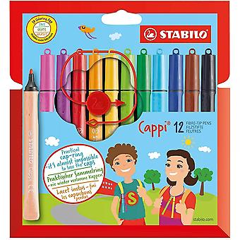 Stabilo Cappi 12 assorterede farvede Fibre Tip penne med Cap-Ring