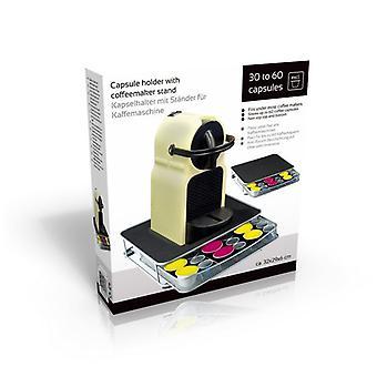 Caffè cassetto Capsule 30-60 cialde deposito metallo fatto Stand nera