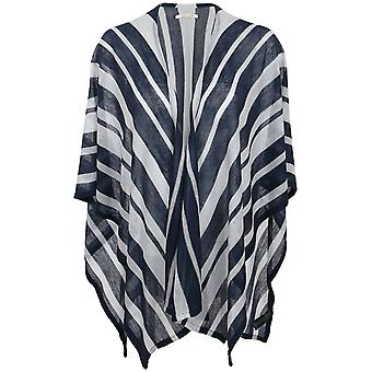 pièces Pcbuni poncho jacket ladies knitted poncho blue stripes-look