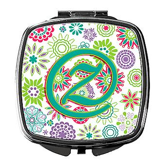 Letter Z Flowers Pink Teal Green Initial Compact Mirror
