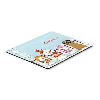 Wesołych Świąt kolędników Mastif myszki, podkładki, podkładka lub trójnóg