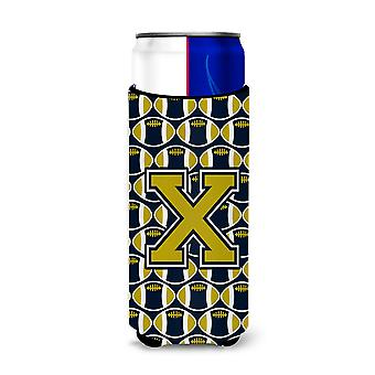 Letter X Football Blue and Gold Ultra Beverage Insulators for slim cans