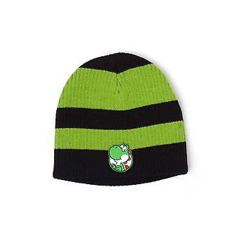 Nintendo Beanie Hat Yoshi Striped Patch logo new Official