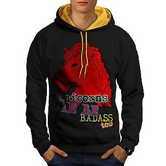 Unicorn Badass rosso nero (oro Hood) contrasto con cappuccio | Wellcoda