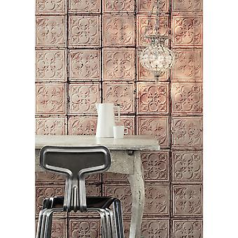 Brooklyn Tins Wallpaper by Merci 1000 x 48.7 cm 1-Roll Non-Woven Back Wallpaper, Pink