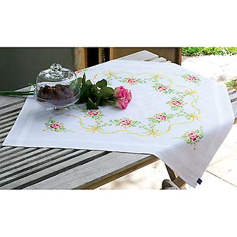Garland With Roses Tablecloth Stamped Embroidery Kit-32
