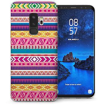 Samsung Galaxy S9 met aardse Azteekse Quilt TPU Gel koffer-paars
