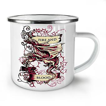Fire And Blood Fantasy NEW WhiteTea Coffee Enamel Mug10 oz | Wellcoda