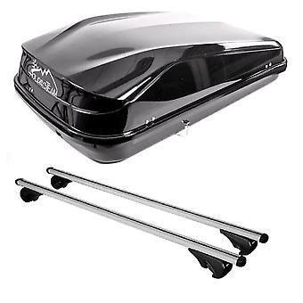 Roof Bars & 420L Large, Black Box For Jeep GRAND CHEROKEE III 2005-2010