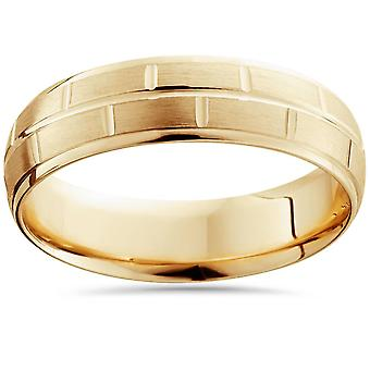 6mm 14K Yellow Gold Hand Carved Brushed Wedding Band