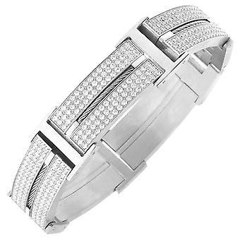 Iced out stainless steel DOUBLE CZ bracelet - 20mm silver