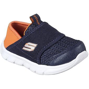 Skechers Boys Comfy Flex Slip On Mesh Contrast Trainers Shoes