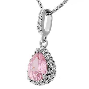Orphelia Silver 925 Pendant Drop With Chain 42+3 Cm Pink Color Zirconium  ZH-7226/PI