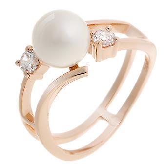 Orphelia Silver 925 Ring ZR-7119/RG parel zirkonium Rosegold wit