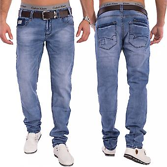 Men's Denim Tapered Jeans Skinny Fit Light Blue Stretch Pants Trousers